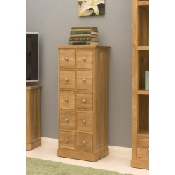 Mobel Oak Multi-Drawer DVD / CD Storage Chest